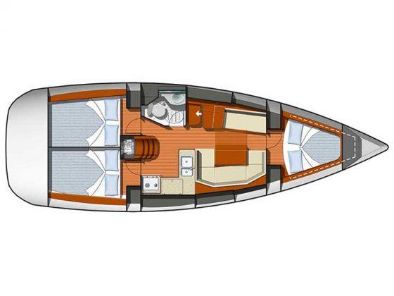 Jeanneau Sun Odyssey 36i planos